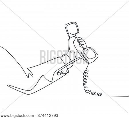 One Single Line Drawing Of Gesture Hand Holding Old Classic Analog Phone Handling At The Office. Vin