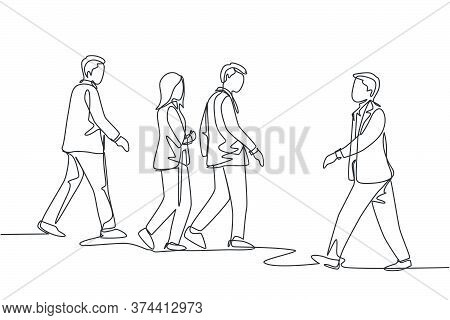 One Single Line Drawing Of Young Businessmen And Businesswoman Walking Together On City Street To Go