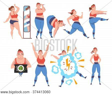 Plump Girl Doing Sport Exercises Set, Weight Loss Process, Young Overweight Woman Getting Fit Cartoo