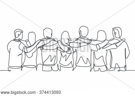 Single Continuous Line Drawing About Group Of Men And Woman From Multi Ethnic Standing Together To S