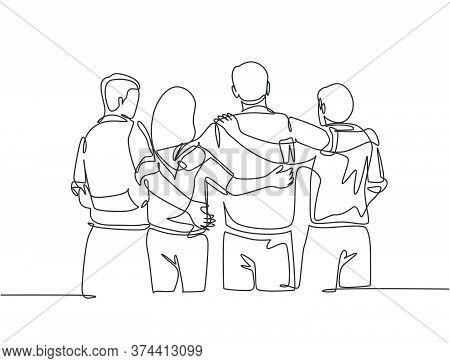 Single Continuous Line Drawing About Group Of Men And Woman From Multi Ethnic Standing And Hugging T