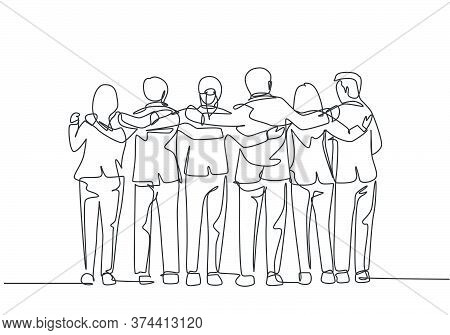 One Single Line Drawing About Group Of Men And Woman From Multi Ethnic Standing Together To Show The