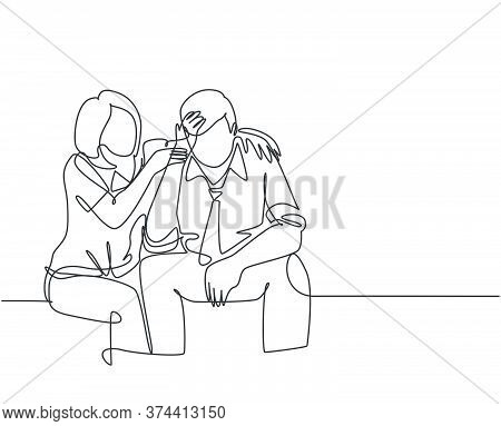 Single Continuous Line Drawing Of Young Female Worker Hugging And Cheering Her Sad And Despair Offic