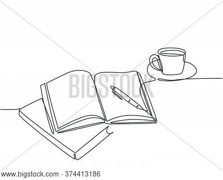 Single Continuous Line Drawing Of Hand Gesture Writing On An Open Book Beside A Cup Of Coffee At Wor