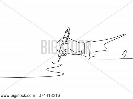 Single Continuous Line Drawing Of Hand Gesture Drawn Straight Zig Zag Line. Write Long Zigzag Streak