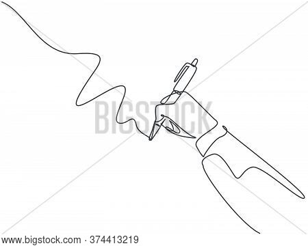 Single Continuous Line Drawing Of Hand Gesture Draw Straight Diagonal Line. Write Long Zigzag Streak