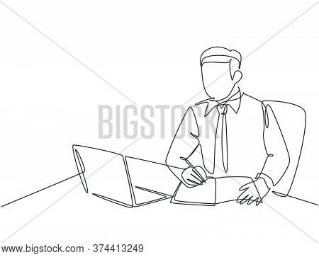 One Single Line Drawing Of Young Serious Businessman Staring At Laptop And Writing Business Notes To