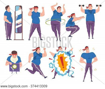 Fat Man Doing Sport Exercises Set, Weight Loss Process, Young Overweight Man Getting Fit Cartoon Vec