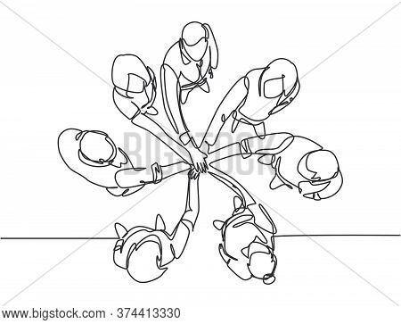 One Single Line Drawing Group Of Young Happy Business People Unite Their Hands Together To Form A Ci