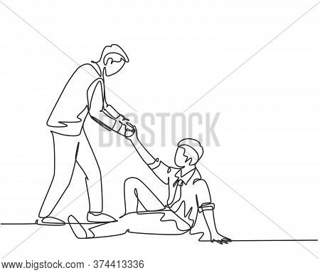 One Single Line Drawing Of Young Happy Business Man Helping His Bankrupt Partner Who Lay Down On The