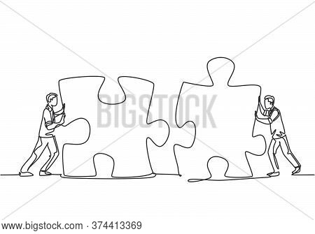 One Continuous Line Drawing Of Two Young Businessmen Push Puzzle Pieces To Unite Them As Sign To Sta
