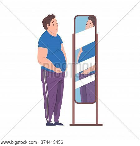 Fat Young Man Looking At His Reflection In The Mirror, Young Overweight Man Getting Fit Cartoon Vect