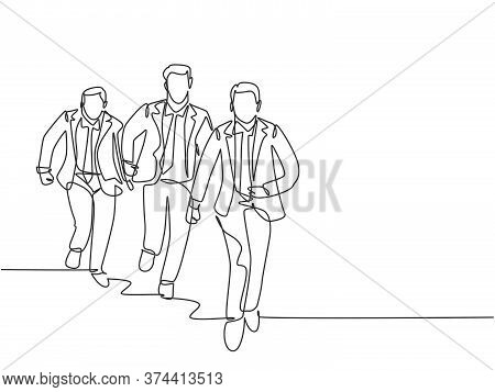 Single Continuous Single Line Drawing Group Of Urban Commuter Workers Running To Get To The Office O