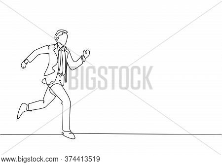 Single Continuous Single Line Drawing Of Young Happy Businessman Opens His Hands After Running Cross