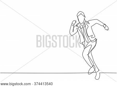 Single Continuous Single Line Drawing Of Young Happy Businessman Running Fast At Athletic Race Lane.