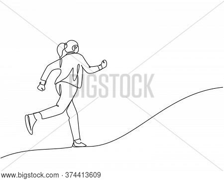 One Continuous Single Line Drawing Of Young Happy Energetic Businesswoman Doing Running Exercise To
