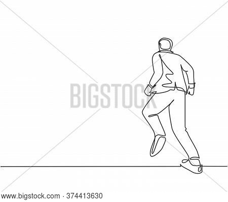 One Continuous Single Line Drawing Of Young Energetic Male Manger Doing Jogging Run Exercise To Go T