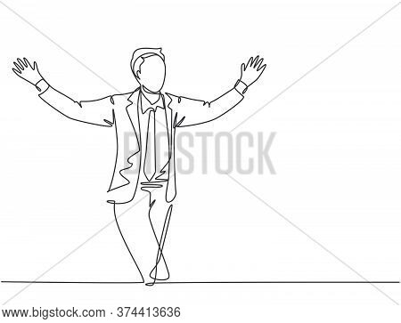 Single Continuous Single Line Drawing Of Young Happy Male Manager Running And Open His Hands After C