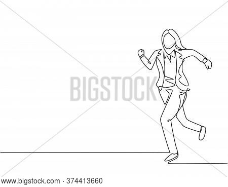 Single Continuous Single Line Drawing Of Young Woman Urban Commuter Worker Running In Rush At City R