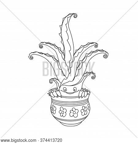 Happy Cute Smiling Aloe Vera, Home Flower With Thorns In A Pot, Funny Character, Comic Monster, Vect