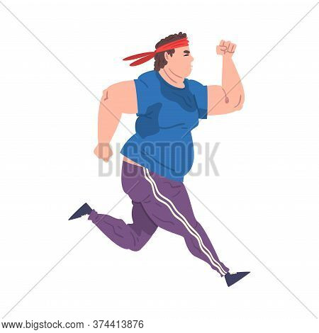 Young Overweight Man Running, Weight Loss Process, Fat Guy Getting Fit Cartoon Vector Illustration O