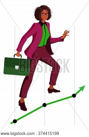 African American Woman Make Successful Career In Business. Black Successful Woman And Growth Chart.