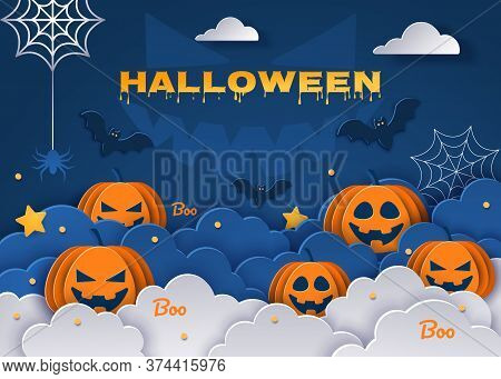 Halloween classic blue background with pumpkins and bats in paper style. Happy Halloween Halloween classic blue background with pumpkins and bats in paper style, 3D. Happy Halloween banner or party invitation background with clouds
