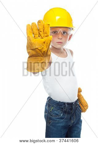 cute boy  in helmet on white background hand stop