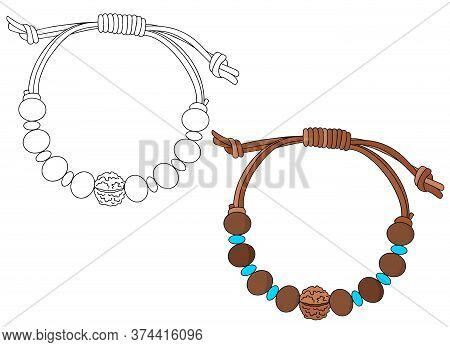 Handmade Jewelry In Ethnic Style: Wooden Charm Bracelet With Rudraksha. Vector Illustration Isolated