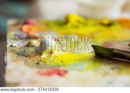 Oil Paints On The Artist's Palette. Creative Palette. Macrophotography Of Oil Paints. Juicy Summer S