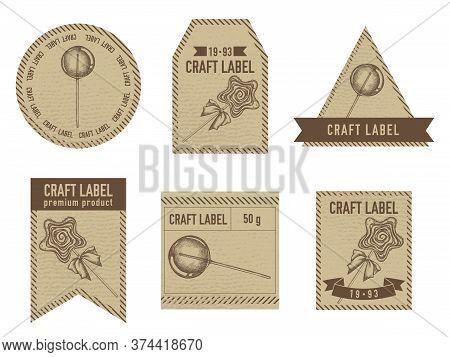 Craft Labels Vintage Design With Illustration Of Lollipop, Lollipop Stock Illustration