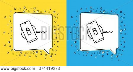 Set Line Smartphone Charging On Wireless Charger Icon Isolated On Yellow And Blue Background. Chargi