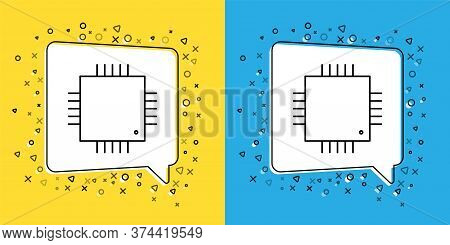 Set Line Computer Processor With Microcircuits Cpu Icon Isolated On Yellow And Blue Background. Chip