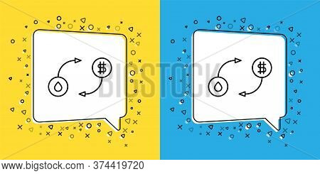 Set Line Oil Exchange, Water Transfer, Convert Icon Isolated On Yellow And Blue Background. Vector I