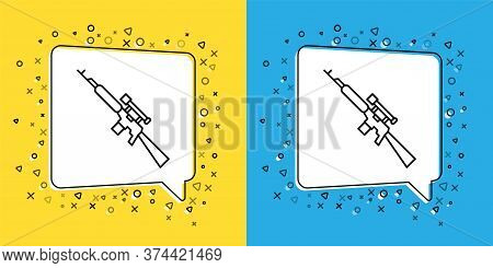 Set Line Sniper Rifle With Scope Icon Isolated On Yellow And Blue Background. Vector Illustration