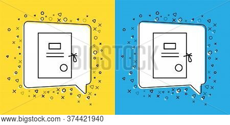Set Line Lawsuit Paper Icon Isolated On Yellow And Blue Background. Vector Illustration