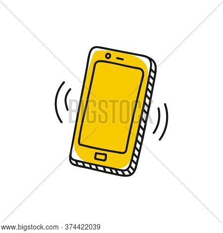 Doodle Caller Smartphone Icon. Vector Isolated Illustration Of Smart Phone.