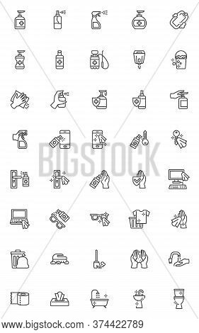 Disinfection And Cleaning Line Icons Set. Hygiene Linear Style Symbols Collection, Outline Signs Pac