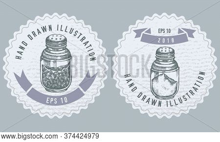 Monochrome Labels Design With Illustration Of Pepper Shaker, Salt Shaker Stock Illustration