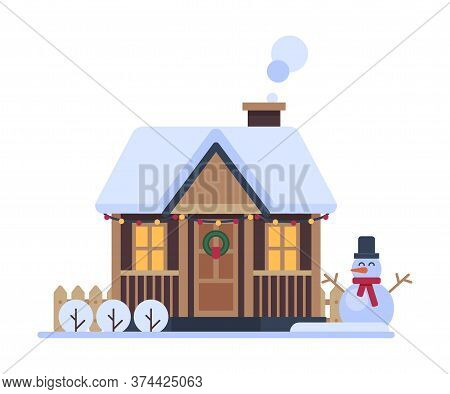 Snowy Suburban House, Rural Winter Cottage, Timbered Cabin With Smoking Chimney Vector Illustration
