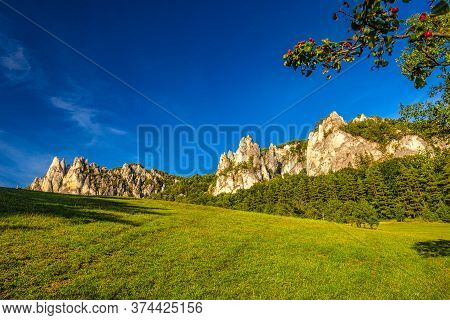 Mountain Landscape With Rocky Peaks On Background In Summer Time. The National Nature Reserve Sulov