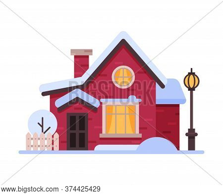 Snowy Suburban Wooden Cottage, Cute Rural Winter House, Timbered Cabin With Vintage Streetlamp Vecto