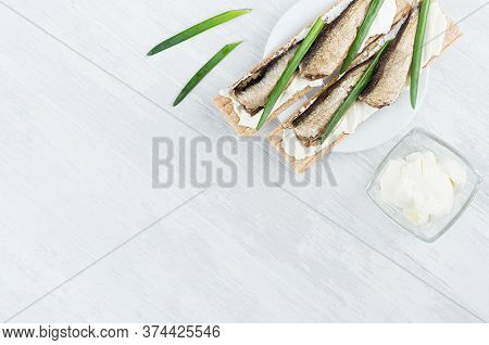 Fresh Spring Vitamine Sandwiches Of Flat Cereal Wheat Dry Crisps Bread With Cream Cheese, Fish Prese