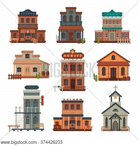 Wild West Wooden Buildings Collection, Bank, Saloon, Sheriff Office, Church, Western Town Design Ele
