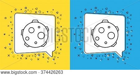 Set Line Ufo Abducts Cow Icon Isolated On Yellow And Blue Background. Flying Saucer. Alien Space Shi