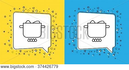 Set Line Egg In Hot Pot Icon Isolated On Yellow And Blue Background. Boiled Egg. Happy Easter. Vecto