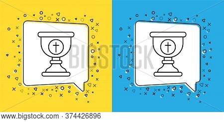 Set Line Christian Chalice Icon Isolated On Yellow And Blue Background. Christianity Icon. Happy Eas