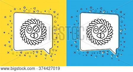 Set Line Easter Egg In A Wicker Nest Icon Isolated On Yellow And Blue Background. Happy Easter. Vect