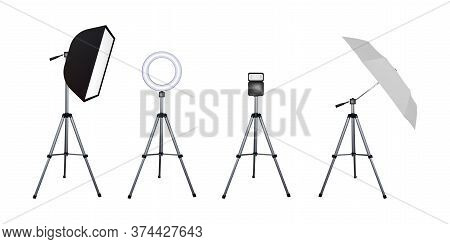 Soft Box And Umbrella Reflectors, Flash And Circular Speed Light. Photo Flash Equipment. Vector Illu