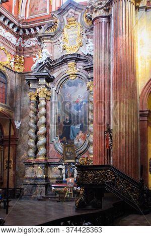 Poznan, Poland - May 05, 2015: Columns And Interiors Of A Fara Poznanska Baroque Parish And Collegia